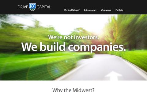 Screenshot of Home Page drivecapital.com - Drive Capital | Venture Funding for Companies in the Midwest - captured Sept. 30, 2014