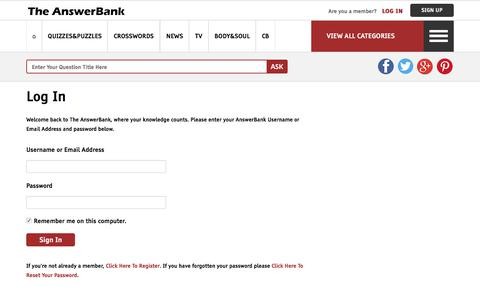 Screenshot of Login Page theanswerbank.co.uk - Sign In - The AnswerBank - captured June 21, 2017