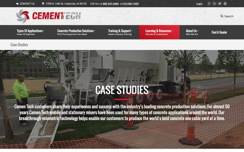 Screenshot of Case Studies Page cementech.com - Concrete Customer Case Studies - captured Oct. 28, 2016