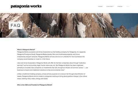 Screenshot of FAQ Page patagoniaworks.com - FAQ — Patagonia Works - captured Sept. 30, 2014