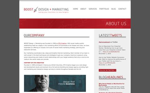 Screenshot of About Page gimmeaboost.com - About Us | BOOST Social Media Marketing, Graphic Design, Branding & Web Development Services, Vancouver, BC - captured May 11, 2017