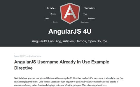 Screenshot of Home Page angularjs4u.com - AngularJS 4U Blog - Demos, News, Directives & Coding Tips - captured Sept. 19, 2014