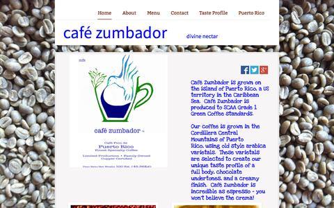 Screenshot of Home Page zumbadorcoffee.com - Home - captured Sept. 16, 2015