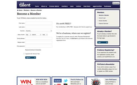 Screenshot of Signup Page fit4talent.com - Become a Member - www.Fit4Talent.com - captured Aug. 4, 2016