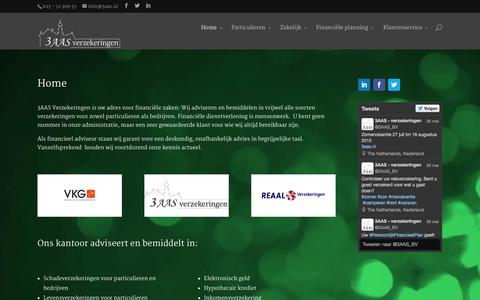 Screenshot of Home Page 3aas.nl - 3AAS Verzekeringen - captured Aug. 13, 2015