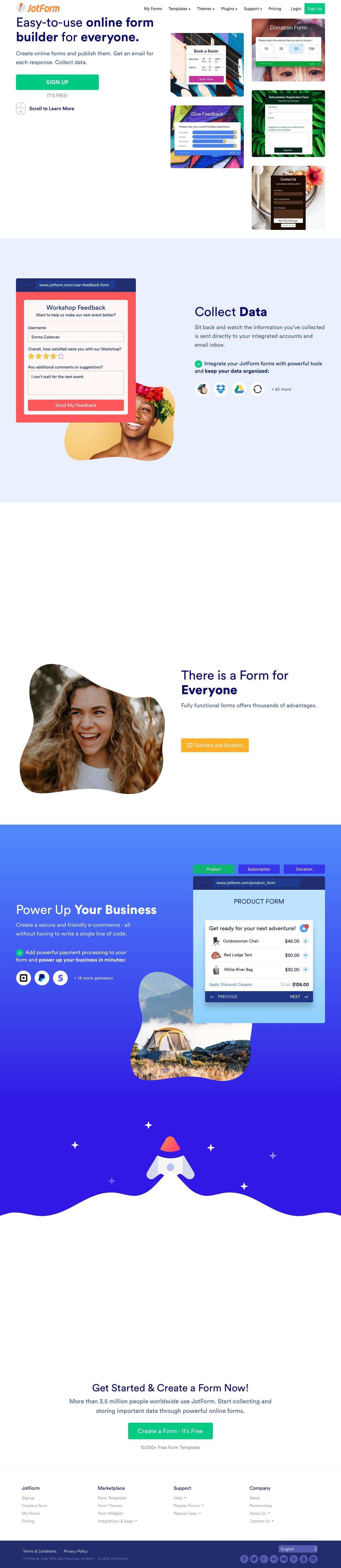 Screenshot of jotform.com - Online Form Builder & Form Creator | JotForm - captured June 4, 2018