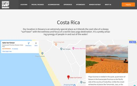 Screenshot of Locations Page safarisurfschool.com - Locations | Safari Surf School - captured Oct. 1, 2018