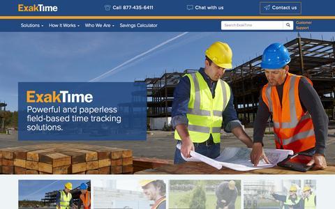 Screenshot of Home Page exaktime.com - Rugged, Portable and Mobile Time Clocks - ExakTime - captured Sept. 19, 2014
