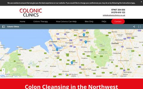 Screenshot of Contact Page colonicclinics.co.uk - Colon cleansing | Colonic Clinics - captured July 20, 2018