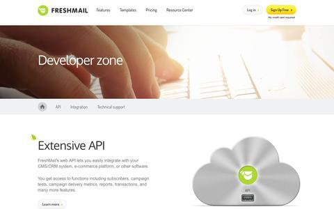 Screenshot of Developers Page freshmail.com - Developer zone - API, Plug-ins - captured Sept. 25, 2014