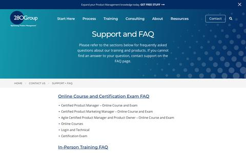 Screenshot of Support Page 280group.com - Support and FAQ | 280 Group - captured June 19, 2018