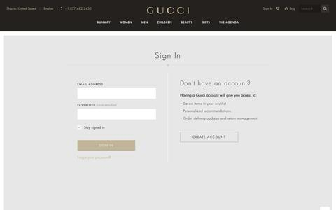 Screenshot of Login Page gucci.com - Gucci Official Site United States - captured April 13, 2016