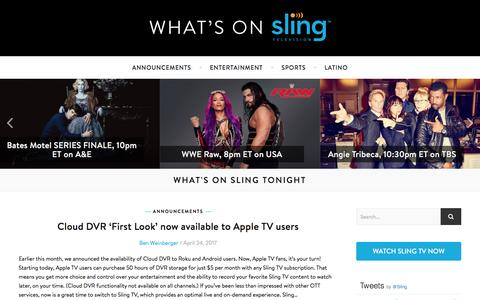 Screenshot of Blog sling.com - What's On Sling - Sports, Shows and Movies on Sling TV Tonight - captured April 24, 2017