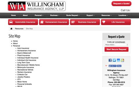 Screenshot of Site Map Page willinghamagency.com - Willingham Insurance Agency - Site Map - captured Oct. 19, 2018