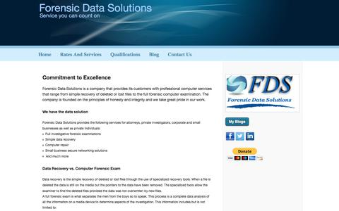 Screenshot of Home Page forensicdatasolutions.com - Forensic Data Solutions - captured Aug. 16, 2018