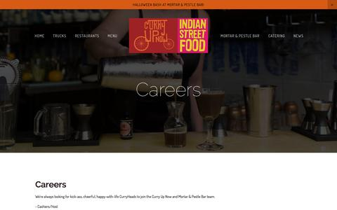 Screenshot of Jobs Page curryupnow.com - Careers — Indian Restaurant Bar Catering & Food Trucks | Curry Up Now - captured Oct. 28, 2014