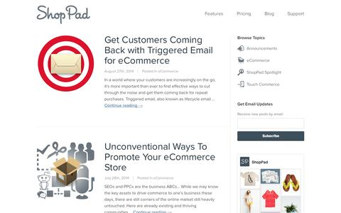 Screenshot of Blog theshoppad.com - Commerce 2.0 by ShopPad | eCommerce news and tips for savvy retailers - captured Sept. 17, 2014