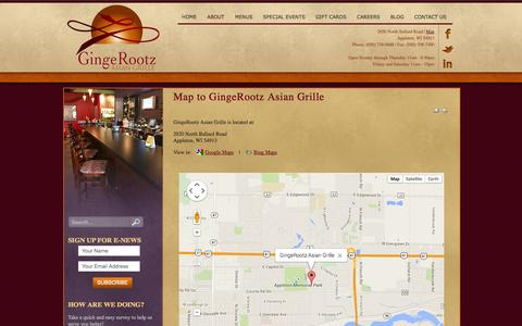 Screenshot of Maps & Directions Page gingerootz.com - Map to GingeRootz Asian Grille | GingeRootz Asian Grille - captured Oct. 2, 2014