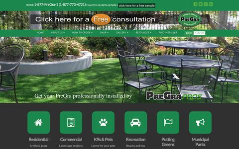 Screenshot of Home Page pregra.com - Pregra - Artificial Turf Lawn Grass Experts | Sold at Costco - captured Dec. 11, 2015