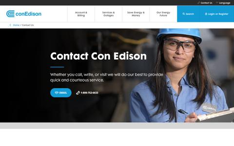 Screenshot of Contact Page coned.com - Contact Us | Con Edison - captured June 20, 2017