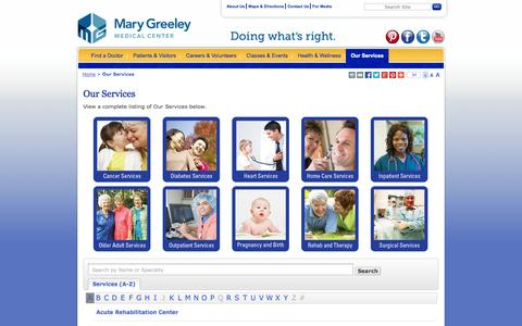 Screenshot of Services Page mgmc.org - Medical Services - Ames, Iowa - Mary Greeley Medical Center - captured Oct. 27, 2014