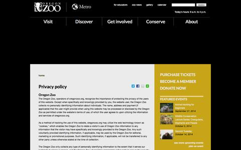 Screenshot of Privacy Page oregonzoo.org - Privacy policy | Oregon Zoo - captured Sept. 19, 2014