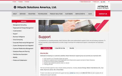 Screenshot of Support Page hitachi-solutions.com - IT Support Services from Hitachi Solutions - captured Nov. 1, 2014