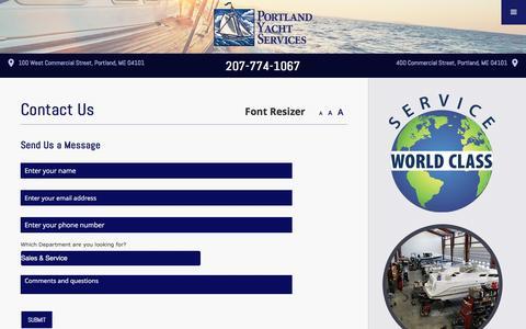 Screenshot of Contact Page portlandyacht.com - Contact Us - Portland Yacht Services - captured Nov. 8, 2016