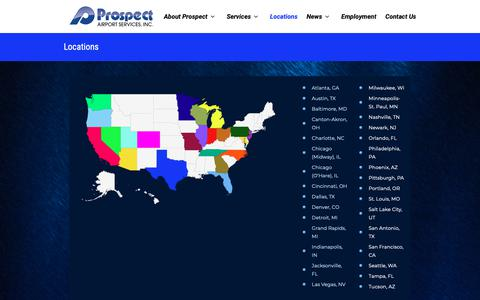 Screenshot of Locations Page prospectair.com - Locations | Prospect Airport Services - captured Sept. 30, 2018