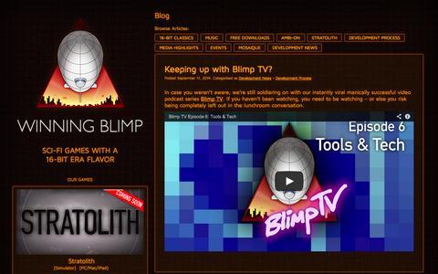Screenshot of Home Page winningblimp.com - Winning Blimp - captured Oct. 7, 2014