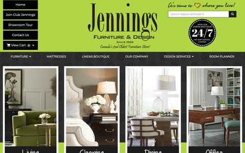 Screenshot of Home Page jenningsfurniture.com - Furniture, Interior Design, Linens, Lighting, Art, Rugs, Mirrors, Mattresses, Staging, Silk Arrangements, Window Treatments, Bedding, Custom Design, Home Consultation, in London, St Thomas and Sarnia ON  | Jennings Furniture - captured Oct. 13, 2018
