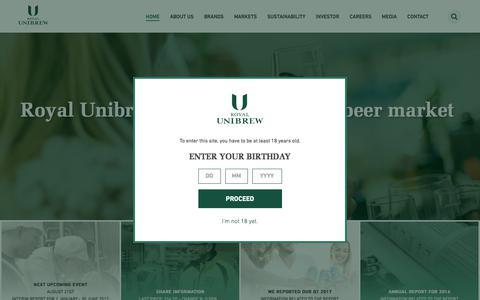 Screenshot of Home Page royalunibrew.com - Home - Royal Unibrew - captured June 15, 2017