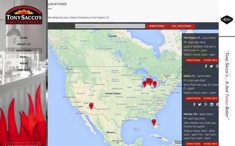 Screenshot of Locations Page tonysaccos.com - Locations | Tony Saccos Coal Oven Pizza - captured Feb. 16, 2016