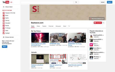 Screenshot of YouTube Page youtube.com - Seatwave.com  - YouTube - captured Oct. 22, 2014