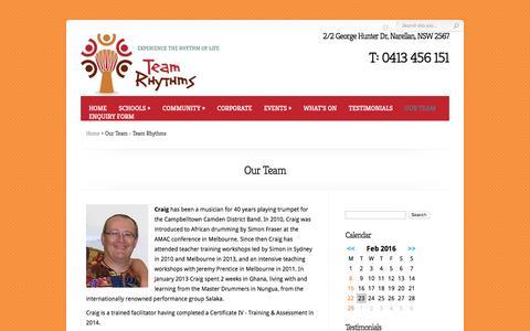 Screenshot of Team Page teamrhythms.com.au - Our Team - Team Rhythms - captured Feb. 22, 2016