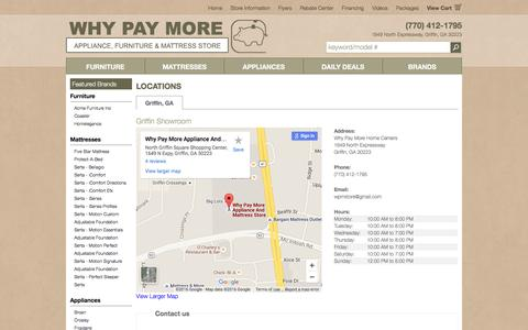 Screenshot of Contact Page Locations Page wpmstore.com - Contact Why Pay More Home Centers in Georgia - captured April 22, 2016