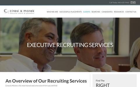 Screenshot of Services Page ciresiandmorek.com - Executive Recruiting Services | Ciresi & Morek - captured Sept. 28, 2018