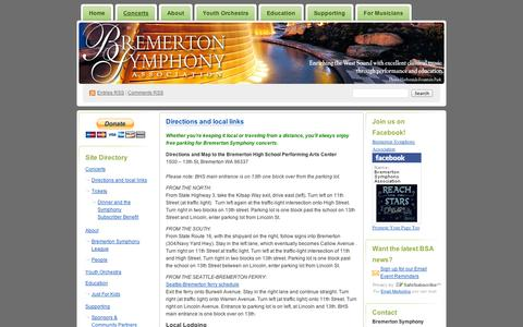 Screenshot of Maps & Directions Page wordpress.com - Directions and local links | Bremerton Symphony Association - captured Sept. 12, 2014
