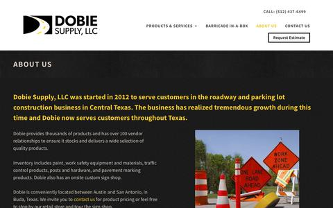Screenshot of About Page dobiesupply.com - About Our Traffic Supply Store - Dobie Supply - captured Oct. 9, 2018