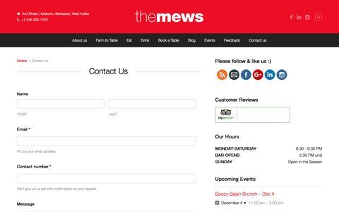Screenshot of Contact Page themewsbarbados.com - Contact us - The Mews Barbados - captured Dec. 1, 2016