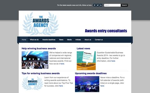 Screenshot of Home Page awards-agency.co.uk - Awards Agency - help winning business awards - Home - captured Oct. 6, 2014