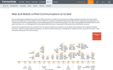 Screenshot of About Page communigate.com - CommuniGate Pro - captured July 20, 2019