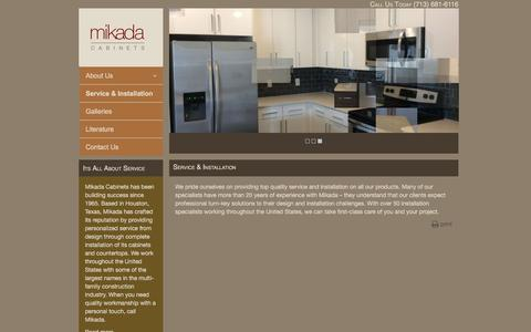 Screenshot of Services Page mikadacabinets.com - Service & Installation - MIkada Cabinets - captured Nov. 28, 2016