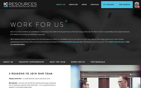 Screenshot of Jobs Page ic-resources.com - Work for us - IC Resources - captured July 20, 2016