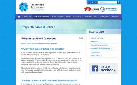 Screenshot of FAQ Page sasbc.sa.gov.au - Small Business Commissioner - captured Jan. 16, 2017