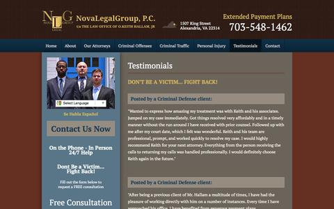 Screenshot of Testimonials Page novalegalgroup.com - Testimonials - NovaLegalGroup, P.C. - captured Oct. 26, 2014