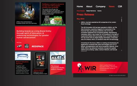 Screenshot of Press Page wirglobal.com - Press Release - WIR Global - Asia's leading Brand-led Innovative Media, Technology, and Entertainment group of companies - captured Sept. 30, 2014