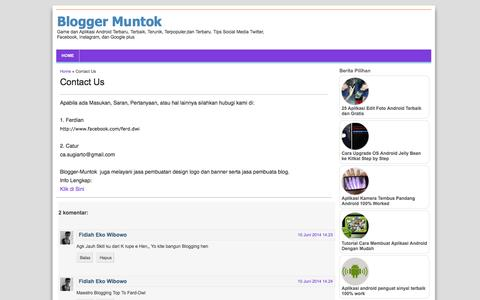 Screenshot of Contact Page blogger-muntok.blogspot.com - Contact Us - captured Nov. 4, 2014