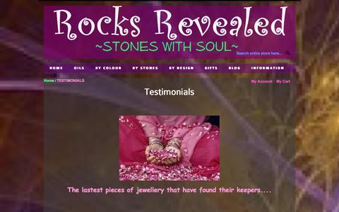 Screenshot of Testimonials Page rocksrevealed.com - TESTIMONIALS - captured Oct. 6, 2014