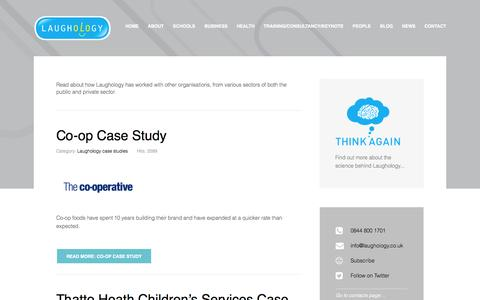 Screenshot of Case Studies Page laughology.co.uk - Case Studies - captured Oct. 28, 2014